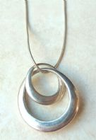 Vintage Sterling Silver Abstract Double Oval Necklace